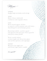 This is a blue menu card by Benita Crandall called Bespeckle with foil-pressed printing on signature in standard.