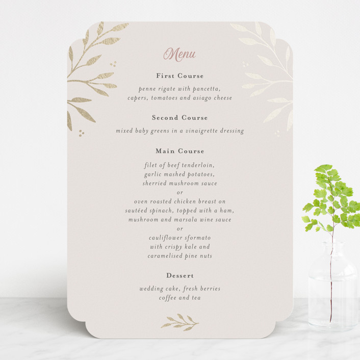 """Vineyard"" - Foil-pressed Menus in Blush by Tennie and Co.."