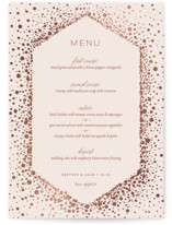 This is a pink menu card by Nicole Barreto called Simply Sparkling with foil-pressed printing on signature in standard.