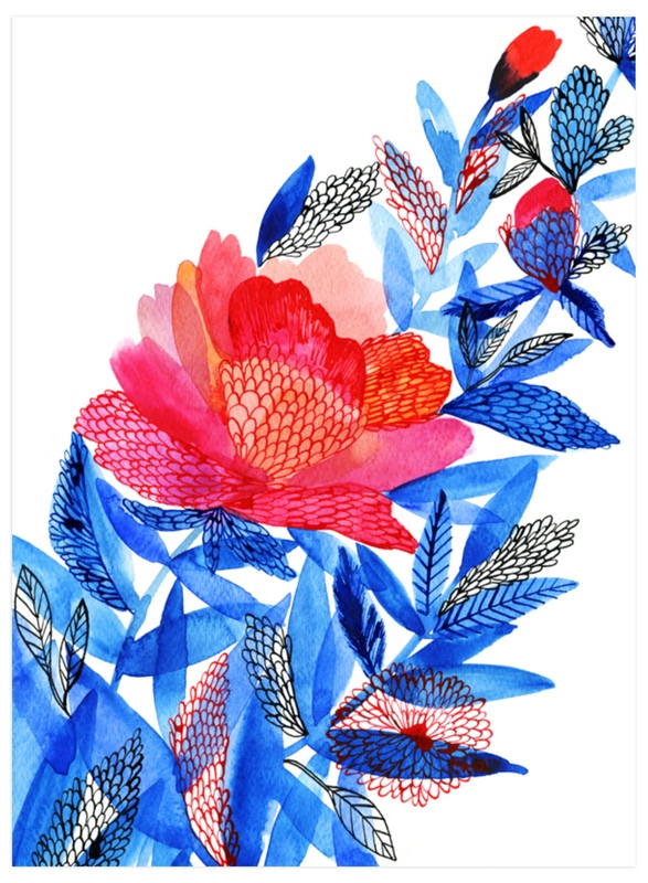 """""""Red flower"""" - Art Print by Alexandra Dzh in beautiful frame options and a variety of sizes."""