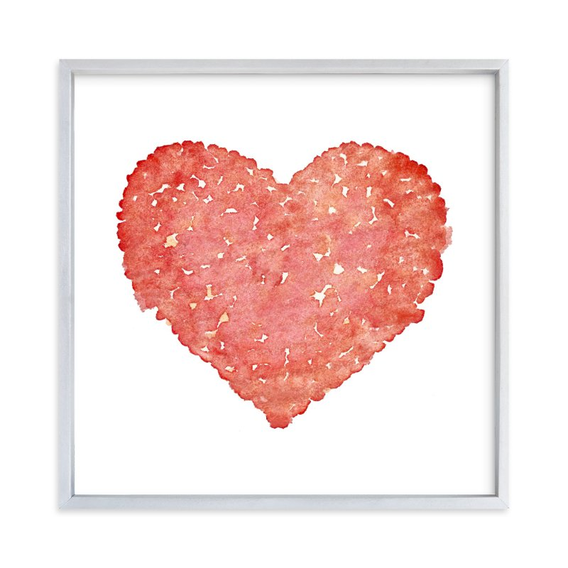 """Watercolor I Heart You to Pieces"" - Art Print by Belia Simm in beautiful frame options and a variety of sizes."