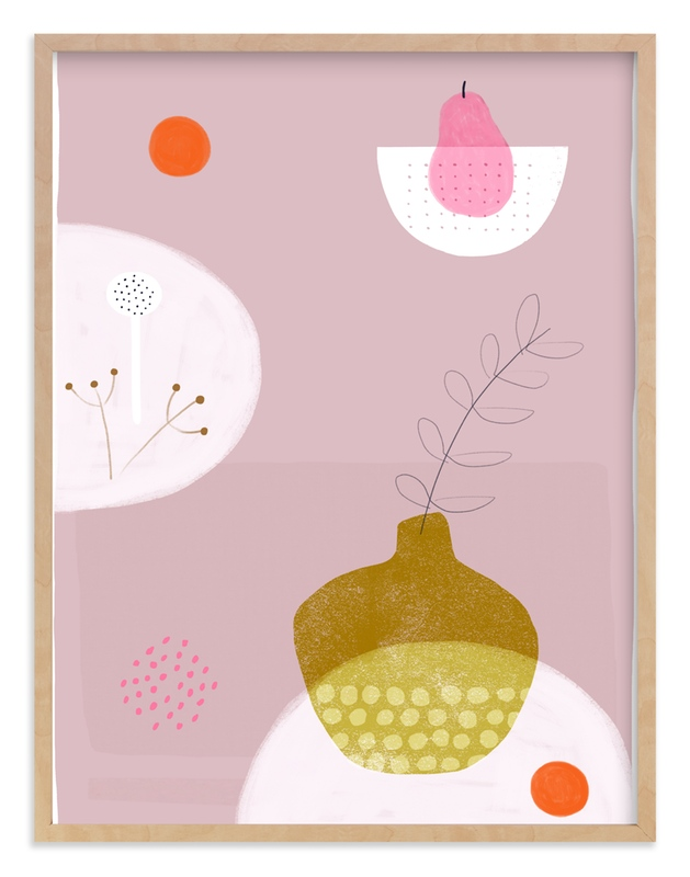 """""""Still Life with Pink Pear"""" - Art Print by Francesca Iannaccone in beautiful frame options and a variety of sizes."""
