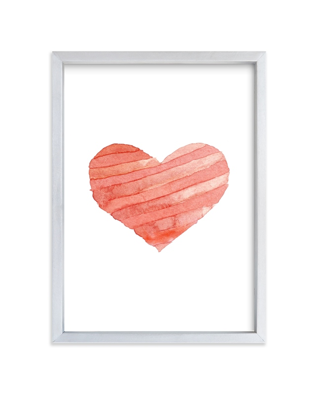 """heart stripes in watercolor"" - Art Print by Belia Simm in beautiful frame options and a variety of sizes."
