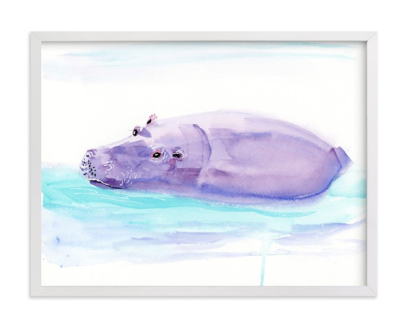 """""""Hippo Hooray"""" - Art Print by Lindsay Megahed in beautiful frame options and a variety of sizes."""