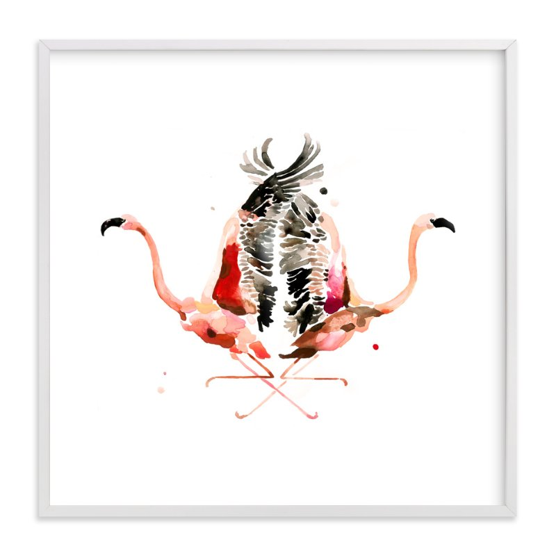 """""""Family Crest: Flamingos"""" - Art Print by Betty Hatchett in beautiful frame options and a variety of sizes."""