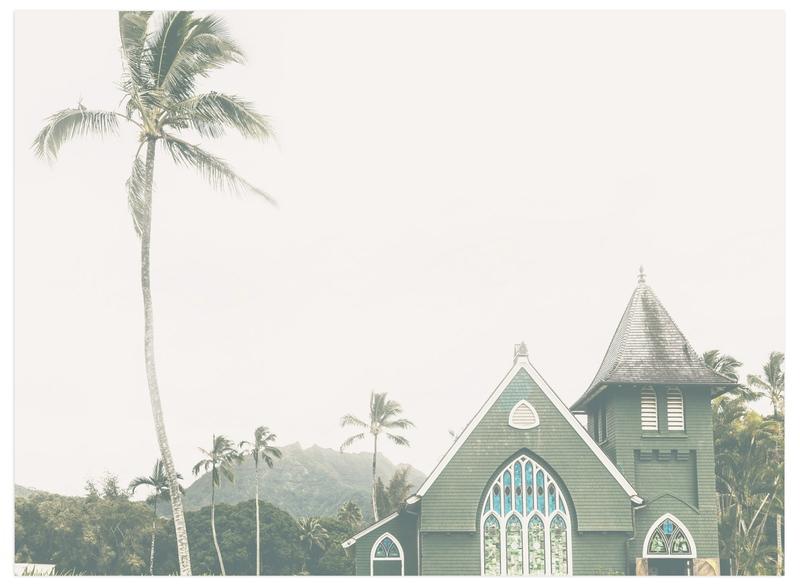 """Hawaiian Church"" - Art Print by Matthew Koehnemann in beautiful frame options and a variety of sizes."