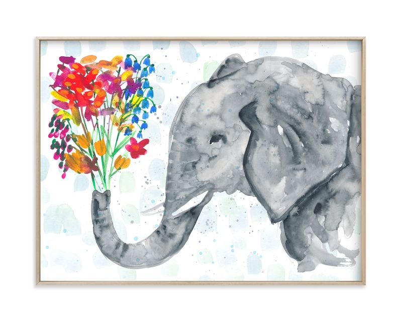 """""""Floral Elephant"""" - Art Print by Kim Johnson in beautiful frame options and a variety of sizes."""