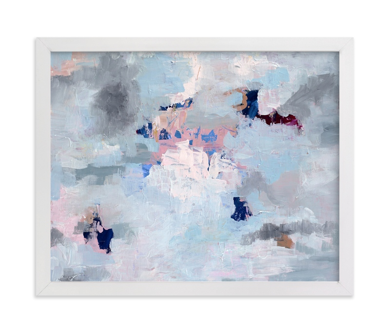 """Light Blue, Gray, and Pink Abstract Art"" - Art Print by Caryn Owen in beautiful frame options and a variety of sizes."