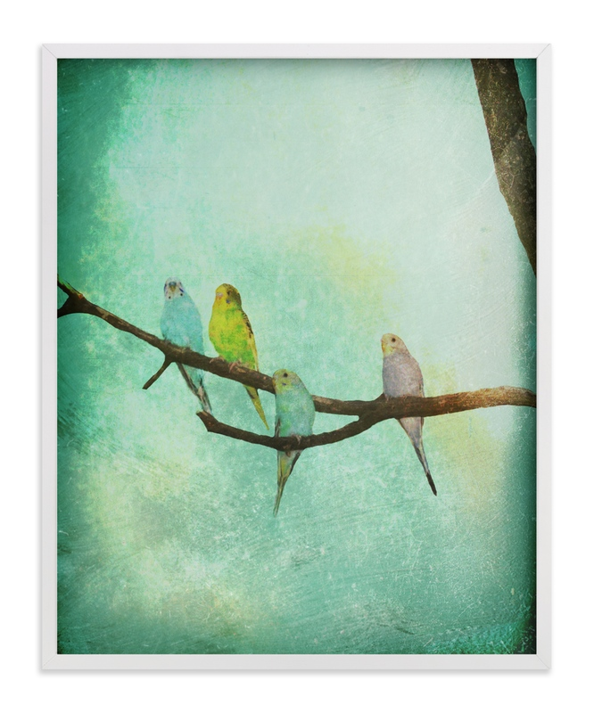 """""""Budgie Branch II"""" - Art Print by Red Impressionz in beautiful frame options and a variety of sizes."""