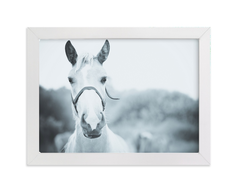 """Horse white"" - Art Print by Lying on the grass in beautiful frame options and a variety of sizes."