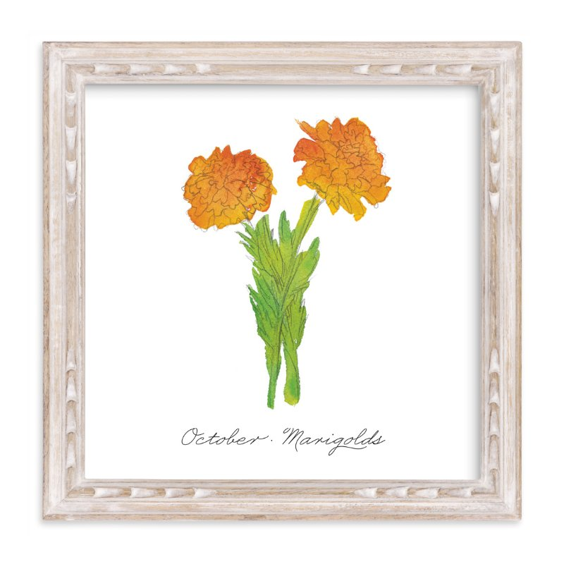 """""""October Marigold"""" - Art Print by Liz Conley in beautiful frame options and a variety of sizes."""