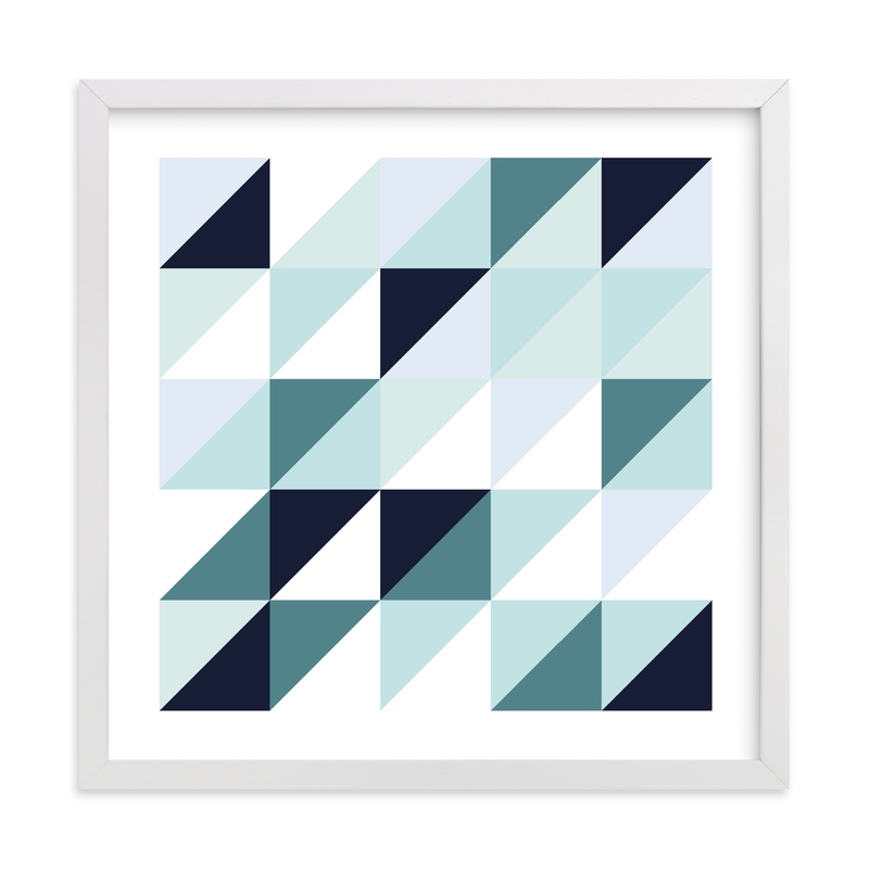 """""""Abstract Mint Blue Triangle"""" - Art Print by Katrina Lindhorst in beautiful frame options and a variety of sizes."""