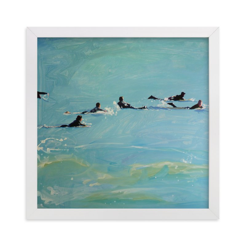 """Paddling Out 2"" - Art Print by Annie Seaton in beautiful frame options and a variety of sizes."