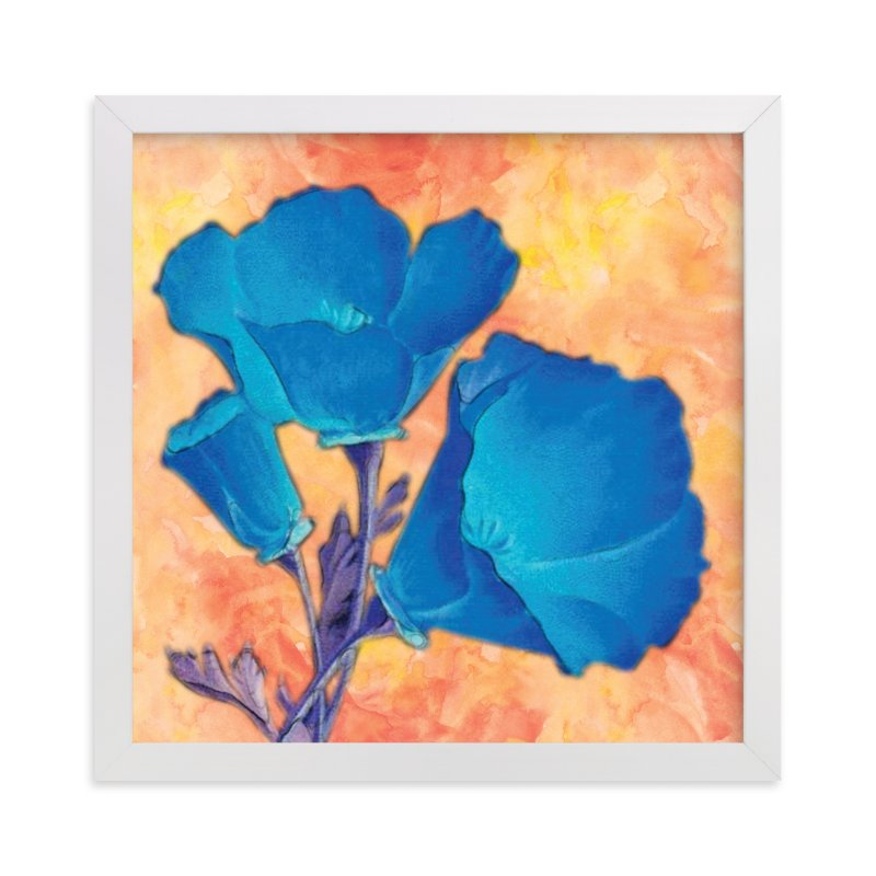 """Blue Poppies"" - Art Print by Debb W in beautiful frame options and a variety of sizes."
