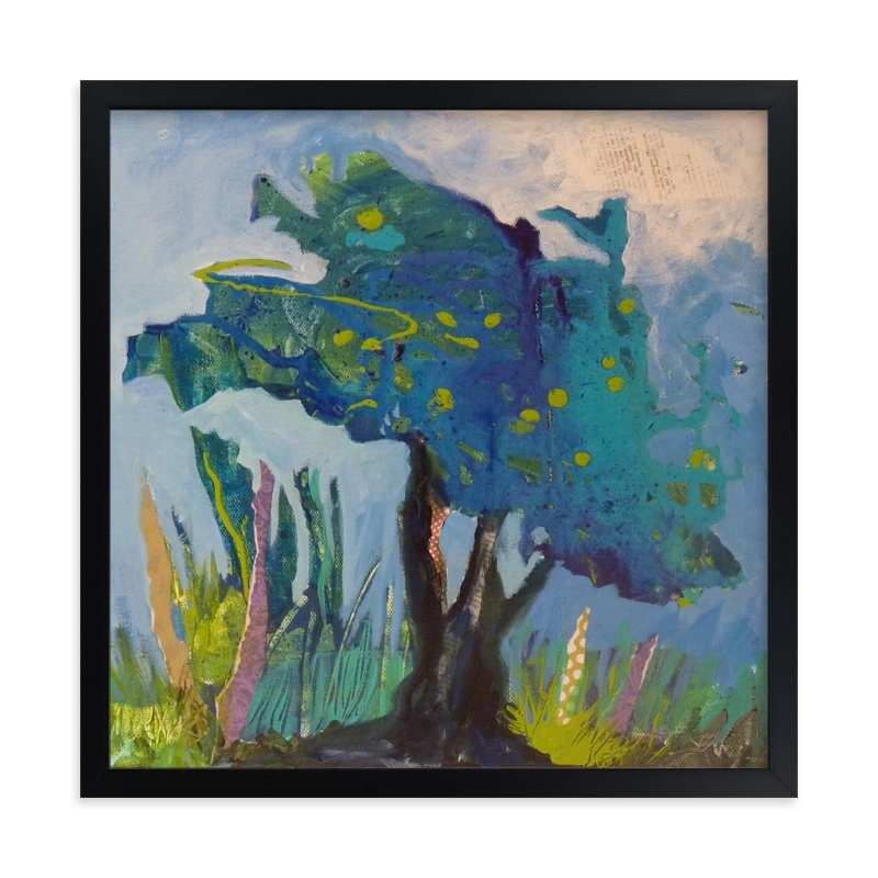 """Mon arbre bleu"" - Art Print by Johanne Roy in beautiful frame options and a variety of sizes."