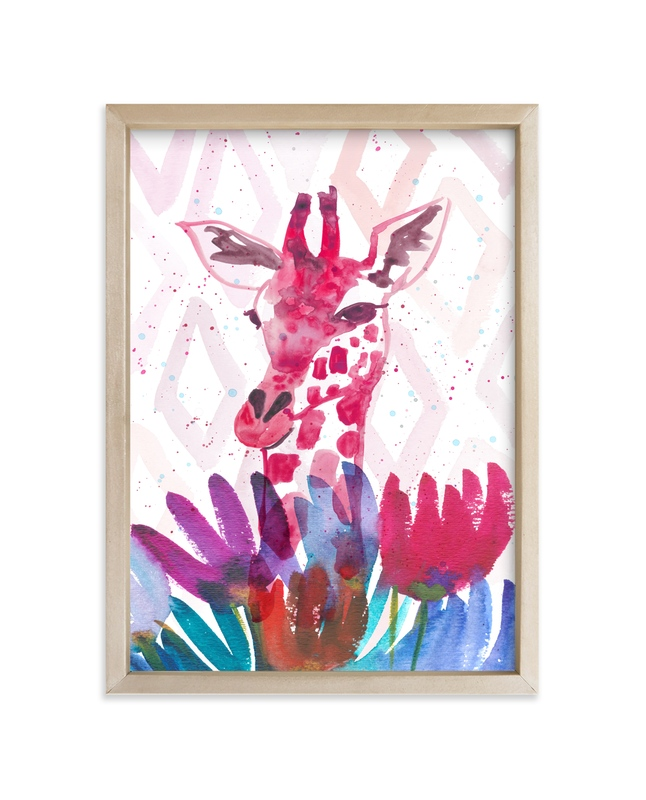 """""""Giraffe with Wild Flowers"""" - Art Print by Kim Johnson in beautiful frame options and a variety of sizes."""