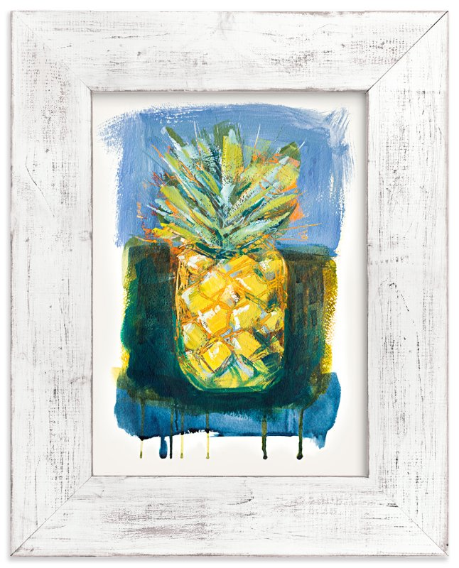 """Painterly Pineapple"" - Art Print by Stacy Kron in beautiful frame options and a variety of sizes."