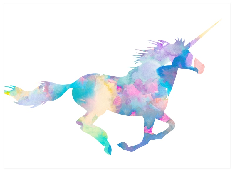 """Watercolor Unicorn"" - Art Print by Kim Johnson in beautiful frame options and a variety of sizes."