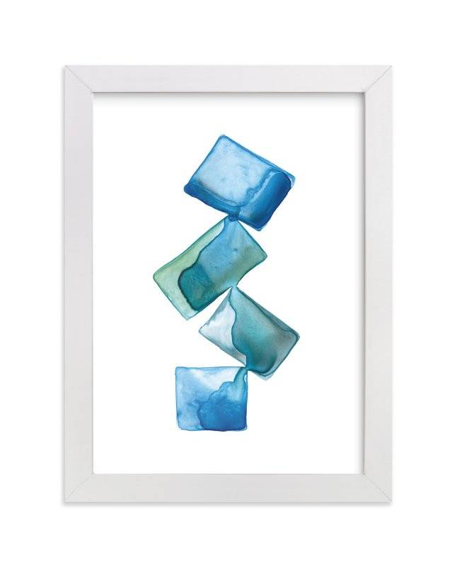 """""""Stacked Blue"""" - Art Print by Jennifer Morehead in beautiful frame options and a variety of sizes."""