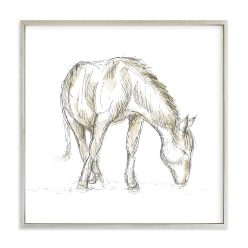 """""""Hungry Horse"""" - Art Print by Susanne Kasielke in beautiful frame options and a variety of sizes."""