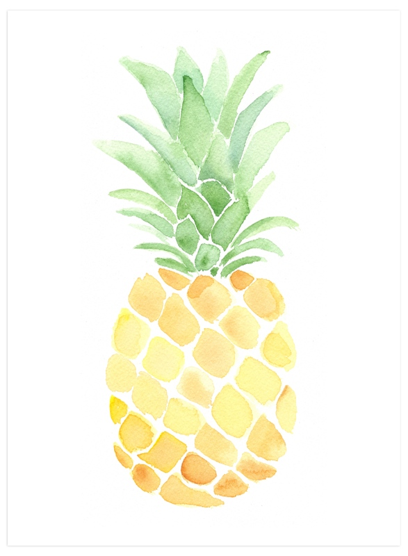 """""""Pineapple Festa"""" - Art Print by Smudge Design in beautiful frame options and a variety of sizes."""