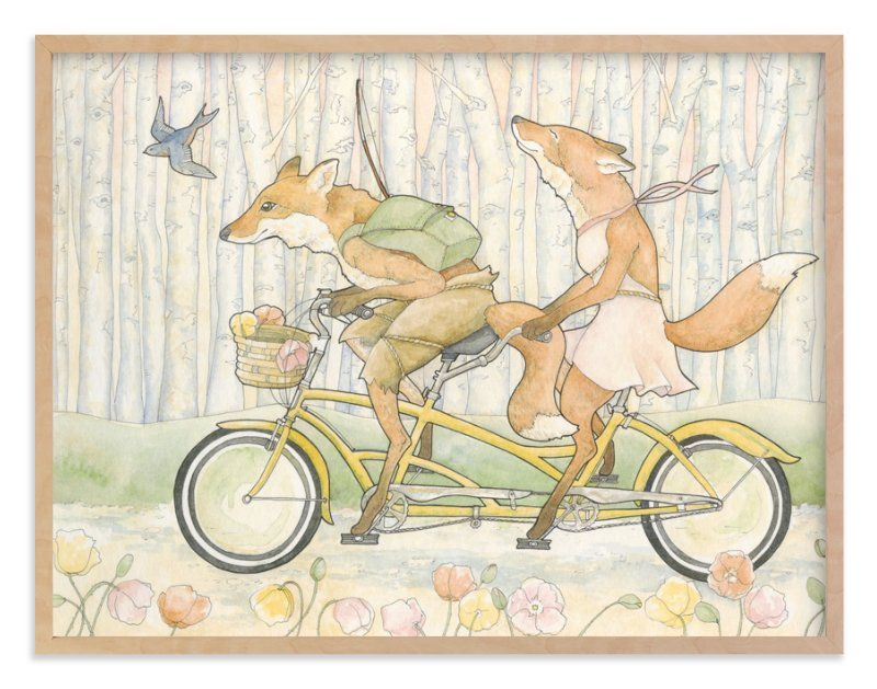 """""""An Outing for Foxes"""" - Art Print by Natalie Groves in beautiful frame options and a variety of sizes."""