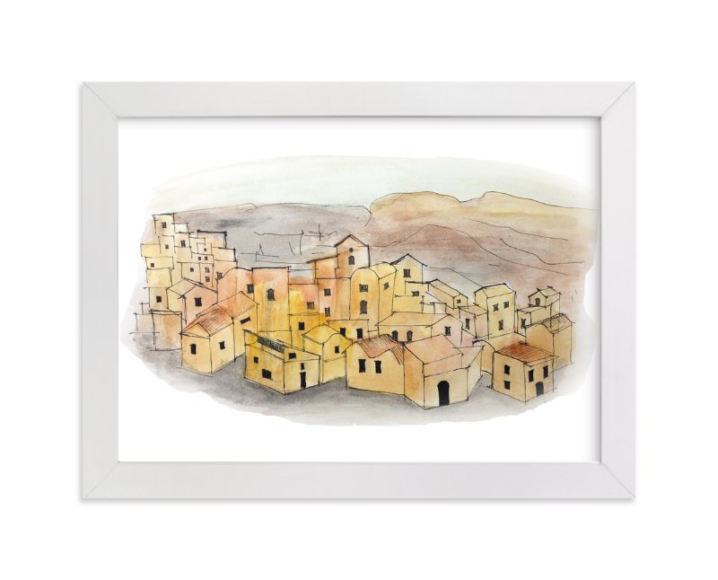 """Sunset on a Village"" - Art Print by Haley Moore in beautiful frame options and a variety of sizes."