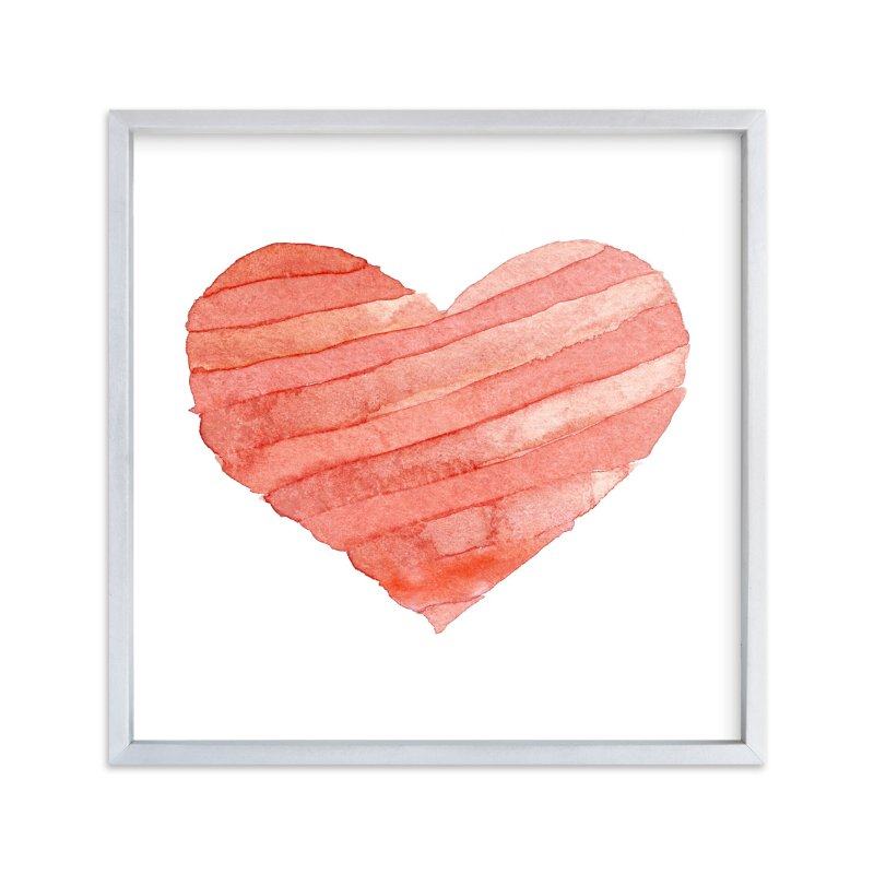 """""""Watercolor Heart Stripes"""" - Art Print by Belia Simm in beautiful frame options and a variety of sizes."""