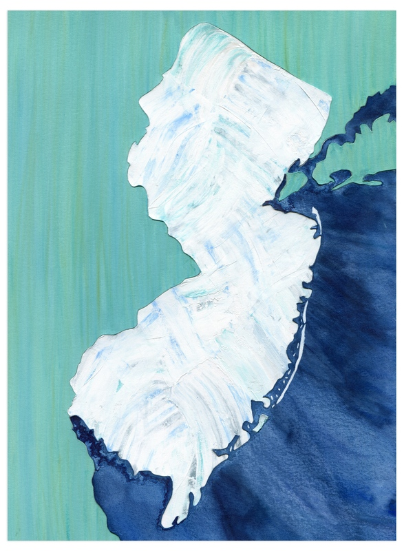 """""""New Jersey in Paint"""" - Art Print by Denise Wong in beautiful frame options and a variety of sizes."""