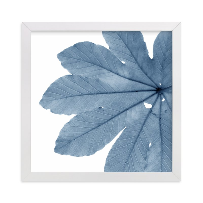 """""""Leaf in Blue"""" - Art Print by Jonathan Brooks in beautiful frame options and a variety of sizes."""