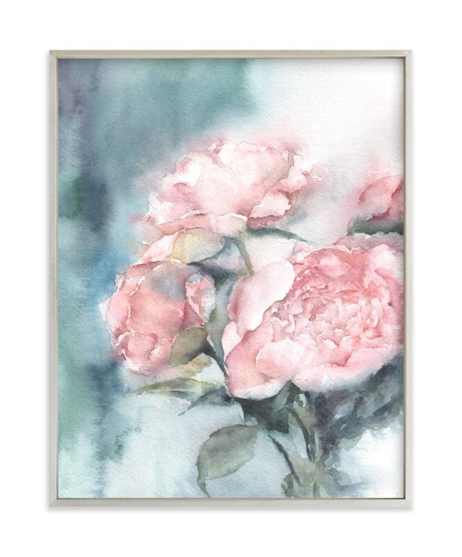 """Weeping Peonies"" - Art Print by XL in beautiful frame options and a variety of sizes."