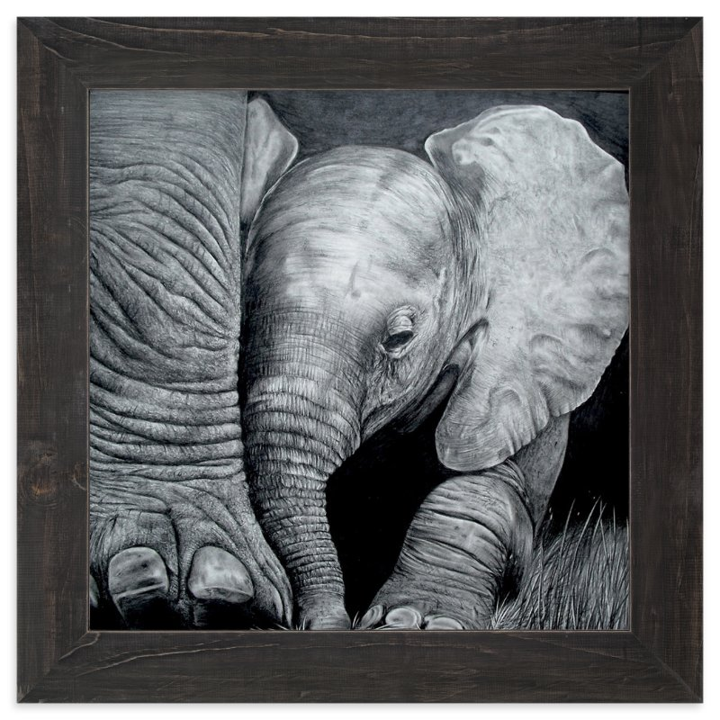 """""""Mommy's Baby Elephant"""" - Art Print by Jerry Winick in beautiful frame options and a variety of sizes."""