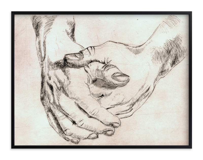 """""""Gesture - Closed Hands"""" - Art Print by Alaine Ball in beautiful frame options and a variety of sizes."""