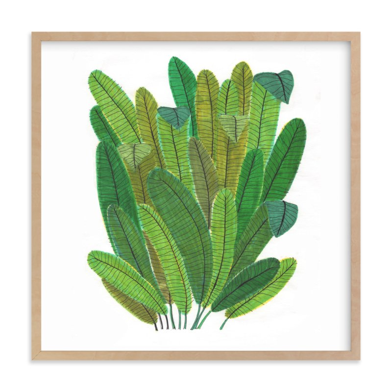 """Green Leaf Bouquet"" - Art Print by Madeline Trait in beautiful frame options and a variety of sizes."
