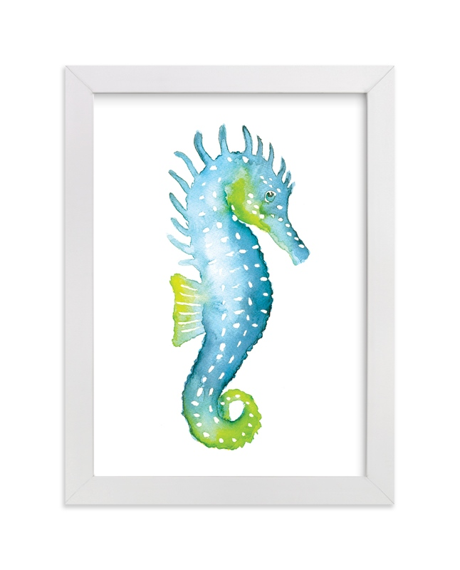 """""""Speckled Seahorse"""" - Art Print by Smudge Design in beautiful frame options and a variety of sizes."""
