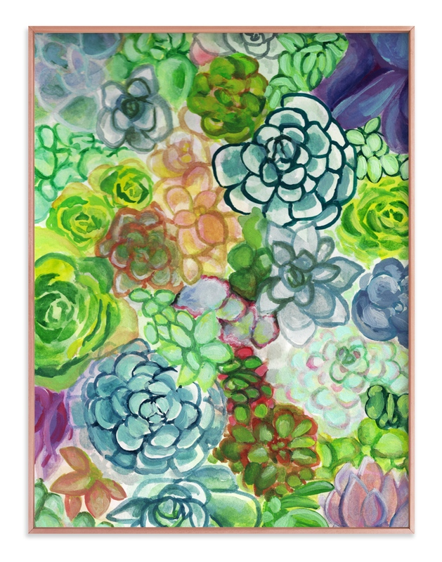 """""""Succulent Delight"""" - Art Print by Jenny Partrite in beautiful frame options and a variety of sizes."""