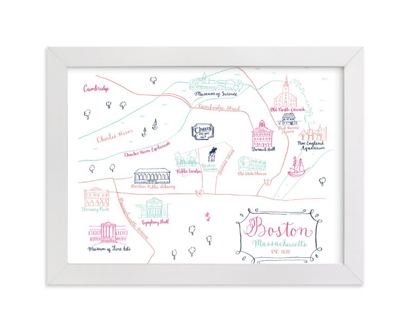 """""""Boston, Massachusetts Calligraphy Map"""" - Art Print by Megan Kelso in beautiful frame options and a variety of sizes."""