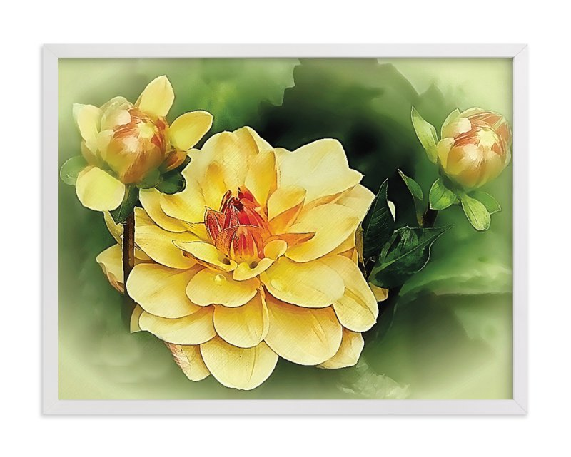 """Focus on the Dahlia"" - Art Print by A Maz Designs in beautiful frame options and a variety of sizes."