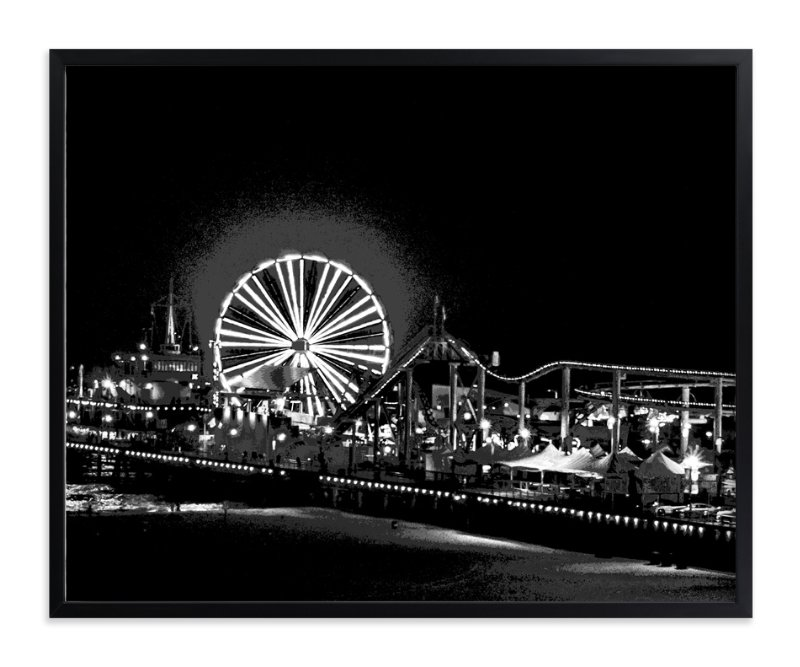 """the pier at NIGHT"" - Art Print by Gail Schechter in beautiful frame options and a variety of sizes."