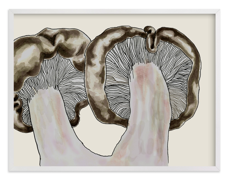 """""""Blewit Mushroom Pair"""" - Art Print by Alaine Ball in beautiful frame options and a variety of sizes."""