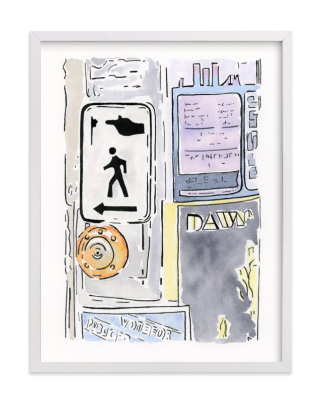 """""""At The Crosswalk"""" - Art Print by Michelle Waldie in beautiful frame options and a variety of sizes."""