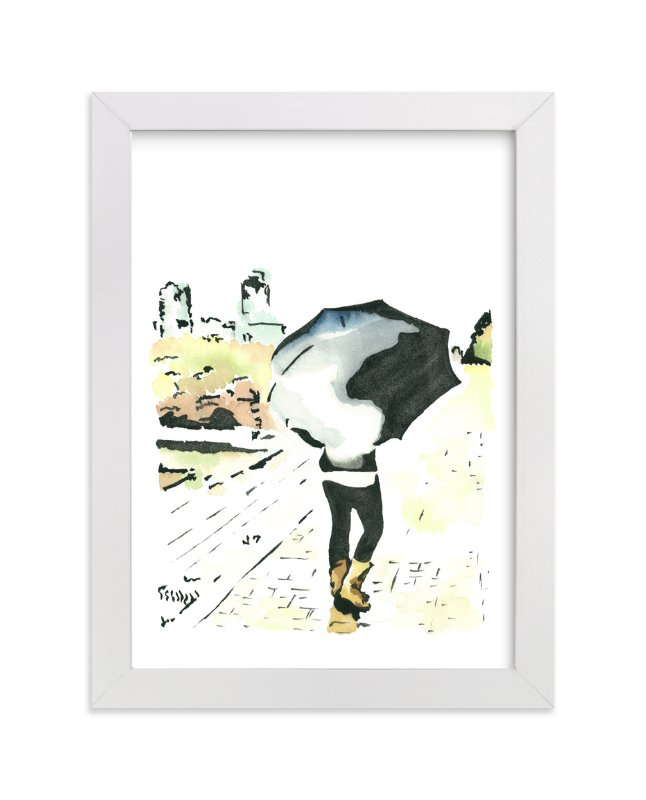 """Walking In The Rain"" - Art Print by Michelle Waldie in beautiful frame options and a variety of sizes."