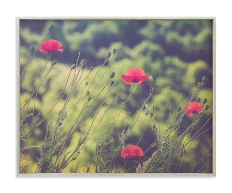 """Red Poppy Flowers"" - Art Print by Lying on the grass in beautiful frame options and a variety of sizes."