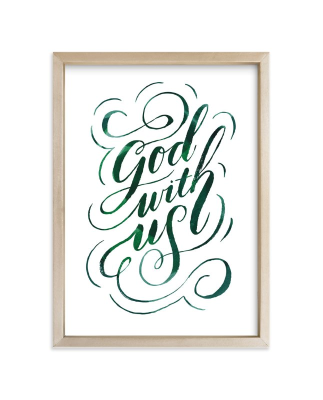 """God With Us Script"" - Art Print by Alethea and Ruth in beautiful frame options and a variety of sizes."