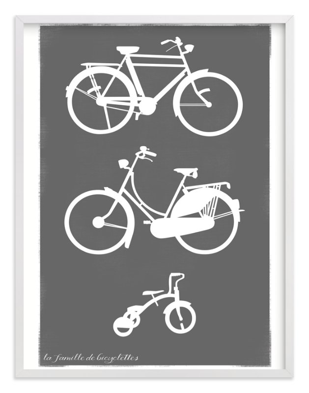"""""""La Famille de Bicyclettes"""" - Art Print by That Girl Studio in beautiful frame options and a variety of sizes."""