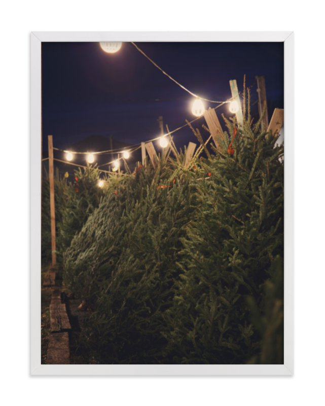 """""""Lit Trees"""" - Art Print by Erin Niehenke in beautiful frame options and a variety of sizes."""