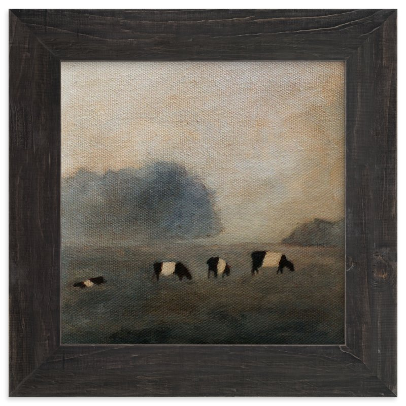 """Cows in the Mist"" - Art Print by claire whitehead in beautiful frame options and a variety of sizes."