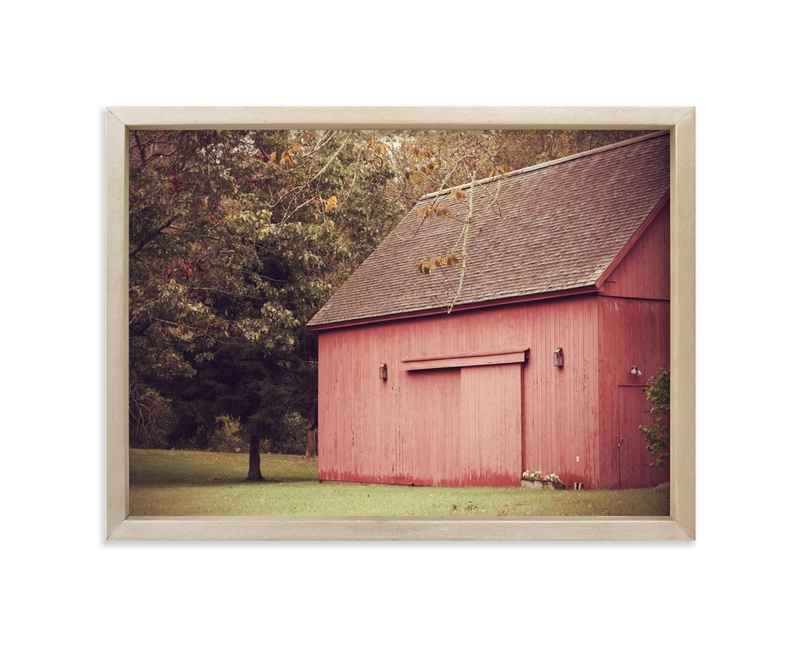 """""""Red Barn In Autumn"""" - Art Print by Gray Star Design in beautiful frame options and a variety of sizes."""