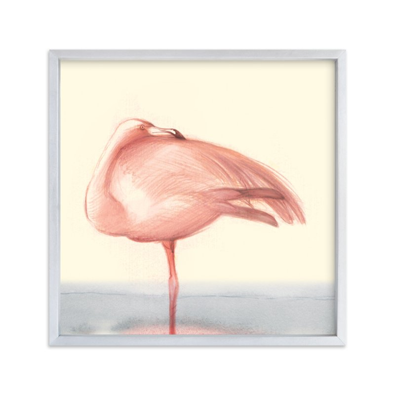 """Soft Hued Flamingo"" - Art Print by Tracy Ann in beautiful frame options and a variety of sizes."