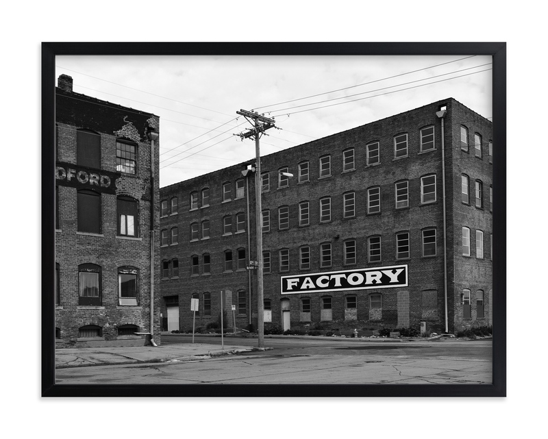 """""""Factory in Monochrome"""" - Art Print by Brian Collins in beautiful frame options and a variety of sizes."""